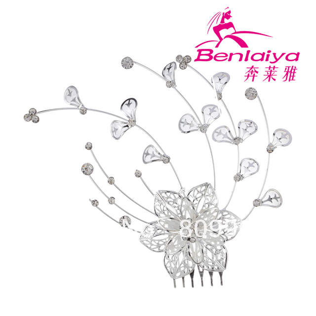 2013 Free Shipping 3pcs/lot Rhinestone Hair Comb Fashion Wedding Hair Accessories Hot Sale Flower Bridal Jewelry Silver Plated