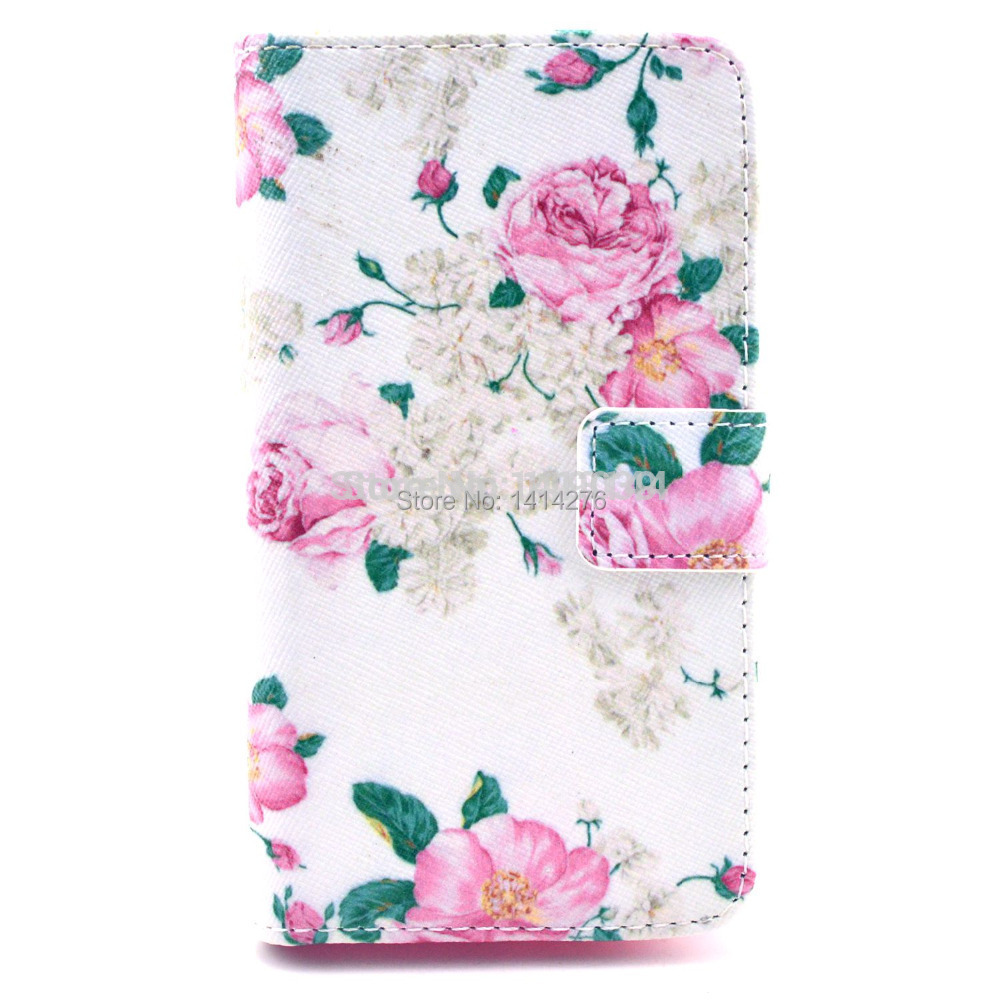 Case For Huawei Ascend Y300 U8833 T8833 Colorful Red Flower Fashion Leather Mobile Cell Phone Cases Case Cover Skin Protector(China (Mainland))