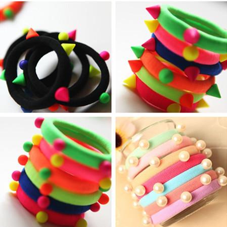 10 Pcs/Lot wholesale New fashion Rivets Colorful Balls Head Elastic Bands Hair Ties Women Black Hair Accessories(China (Mainland))