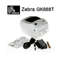 Zebra printer Gk888T thermal transfer barcode label machine Support 1D & 2D barcode printing clothing tag jewelry label hot sell(China (Mainland))