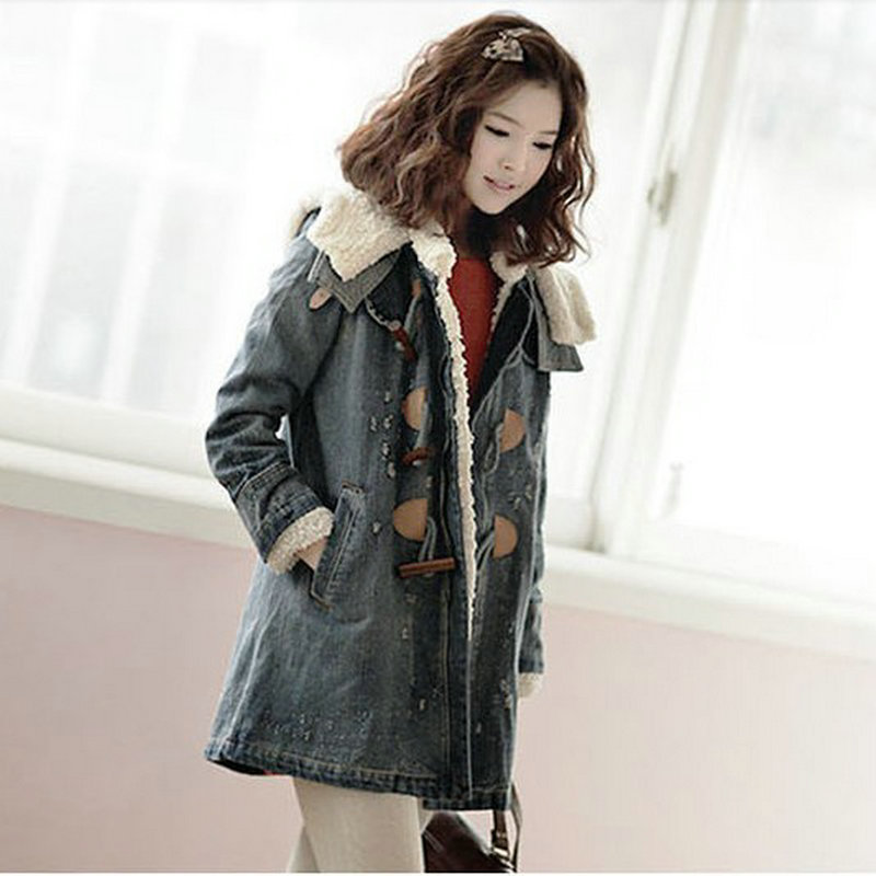 2013 Autumn And Winter Korean Female Thick Sherpa Denim Jacket Women Long Detachable Padded Liner Warm Coat Free Shipping H1639(China (Mainland))
