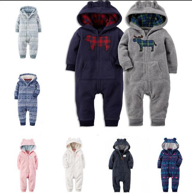 2016 новая коллекция весна осень детские grils мальчиков одежда для Новорожденных комбинезон детские медвежонок С Капюшоном Руно Комбинезон bebes продукты