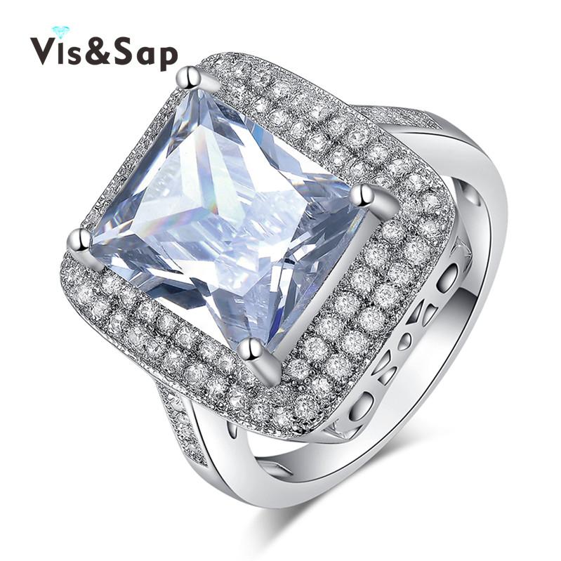White Gold plated led cz diamond ring fashion Jewelry Bijoux Wedding Rings For Women Wholesale vintage luxury anel VSR160(China (Mainland))