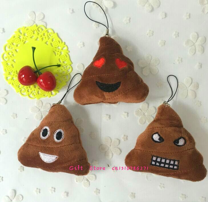 3 Models Emojis Poo Design Plush Stuffed Toy DOLL 6CM String TOY , Pendant Gift TOY BAG ; Smiley Emoticon(China (Mainland))
