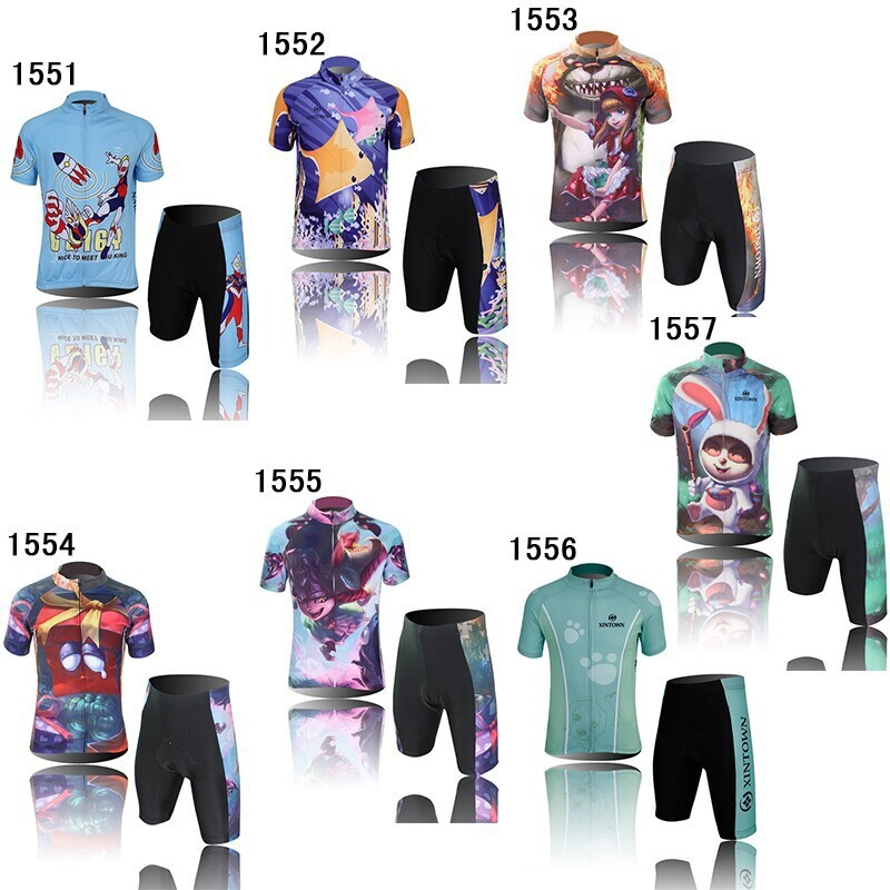 Free Shipping New Kids Cycling Clothing Children Short Sleeve Cartoon Bike Suit Cycling Jersey + Shorts Size S,M.L,XL.XXL(China (Mainland))