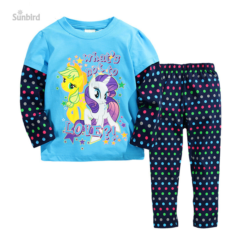 ST135, horse, 6sets, children girls clothing sets pajamas, long sleeve hoodies dress sets 1-6Y, 100% cotton<br><br>Aliexpress