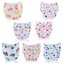Printed Cartoon Baby Nappies Reuseable Kids Baby Cloth Diapers Washable Waterproof Ajustable Nappies For Childern Summer