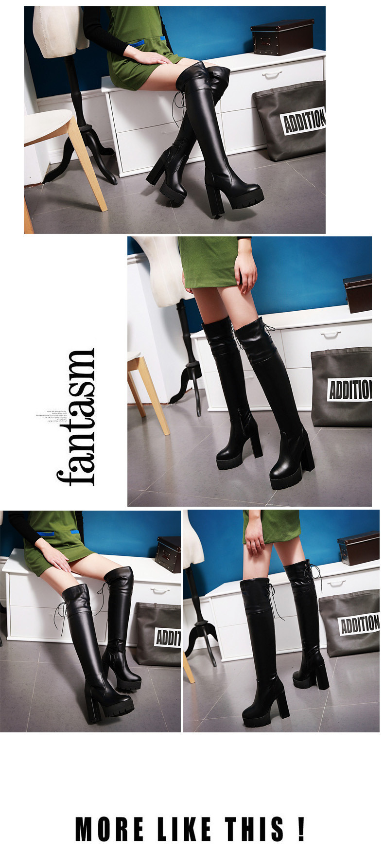 Women's Chunky Heel Platform Shoes Fashion Knight High Heels Boots Over The Knee For Sale Black White