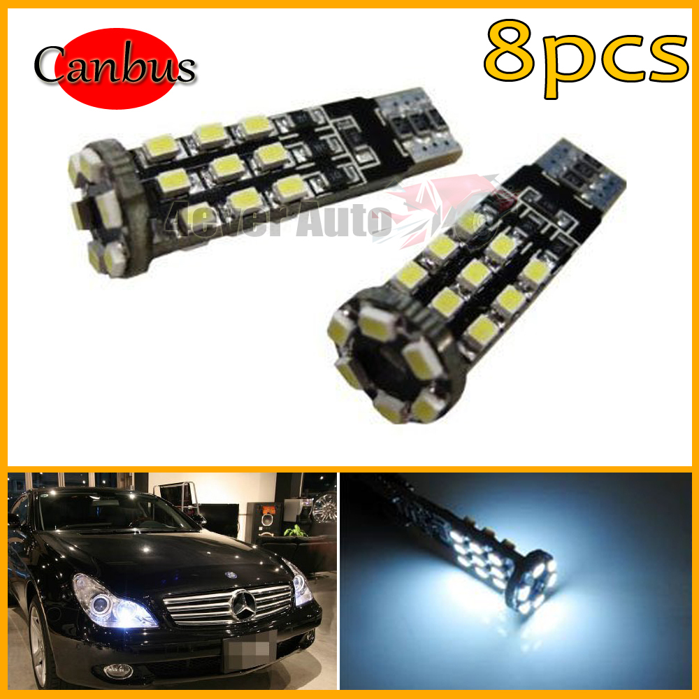 8pcs/lot Free shipping Super Bright HID White 24-SMDT10 T15 Error Free Canbus 2825 W5W LED Parking City Light Bulbs(China (Mainland))