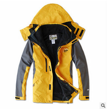 2016 NEW Outdoor Climbing windbreaker clothes fashion 2 in 1 men sports coat Winter warm waterproof men's skiing jacket