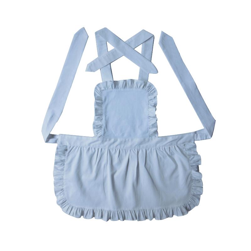 100% Pure Cotton White Kids Apron Short Style Japanese Style White Ruffled Baby Avental de Cozinha Divertido Pinafore Apron(China (Mainland))