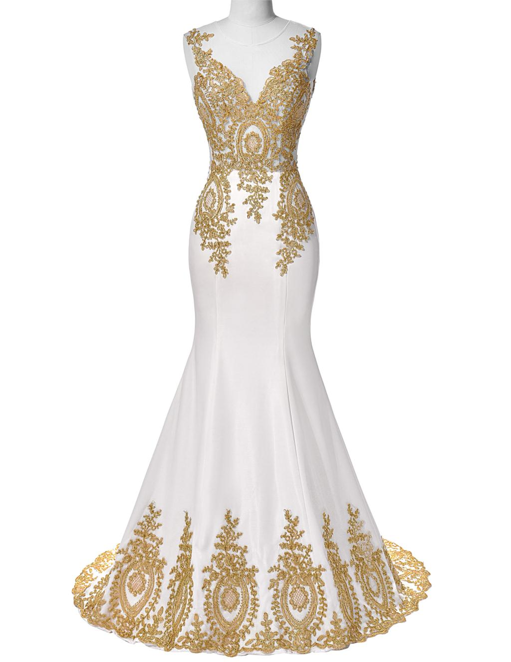 Popular white gold dress buy cheap white gold dress lots for White and gold wedding dresses