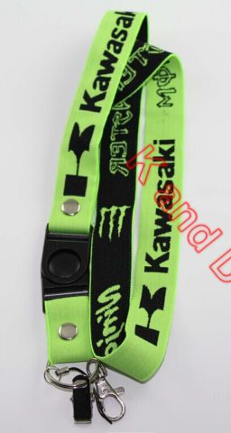 Embroidery Kawasaki letter pattern mobilephone strap licence sling keychain Hanging Wire Motorcycle rider decoration Green&Black(China (Mainland))