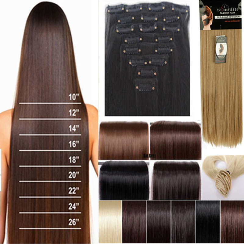 8pcs Set 23 58cm Straight Full Head Clip In Hair Extensions 18 Clips Black Brown Blonde Red Auburn Hair Extention Free Shipping