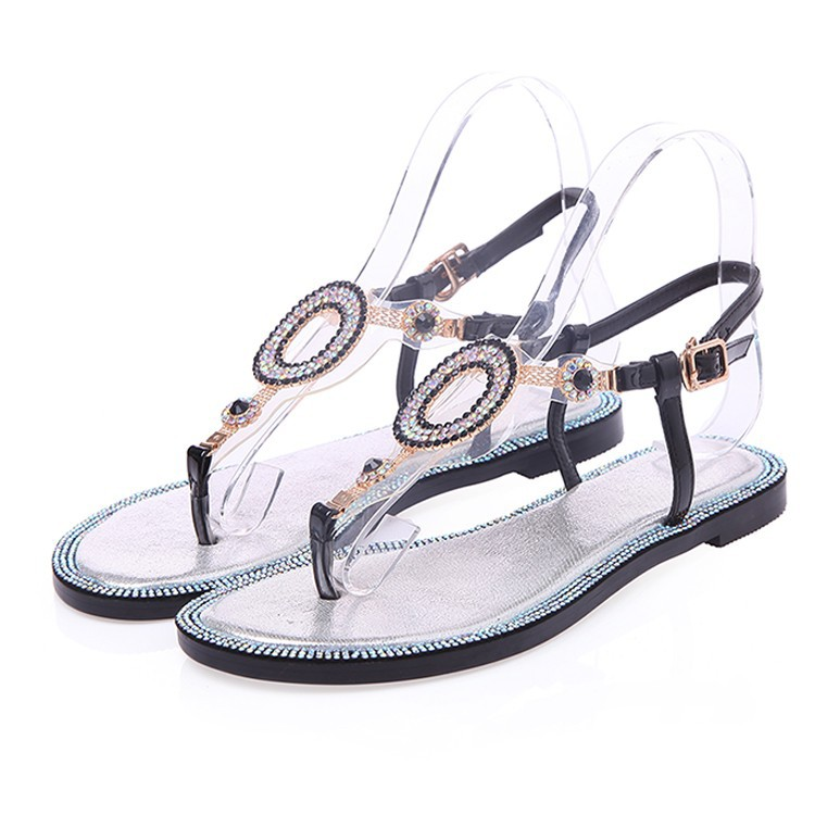GD black and white sparkling New hot Summer Women Flat Shoes Thong Lady Beach Sandal Silver Black free shipping(China (Mainland))