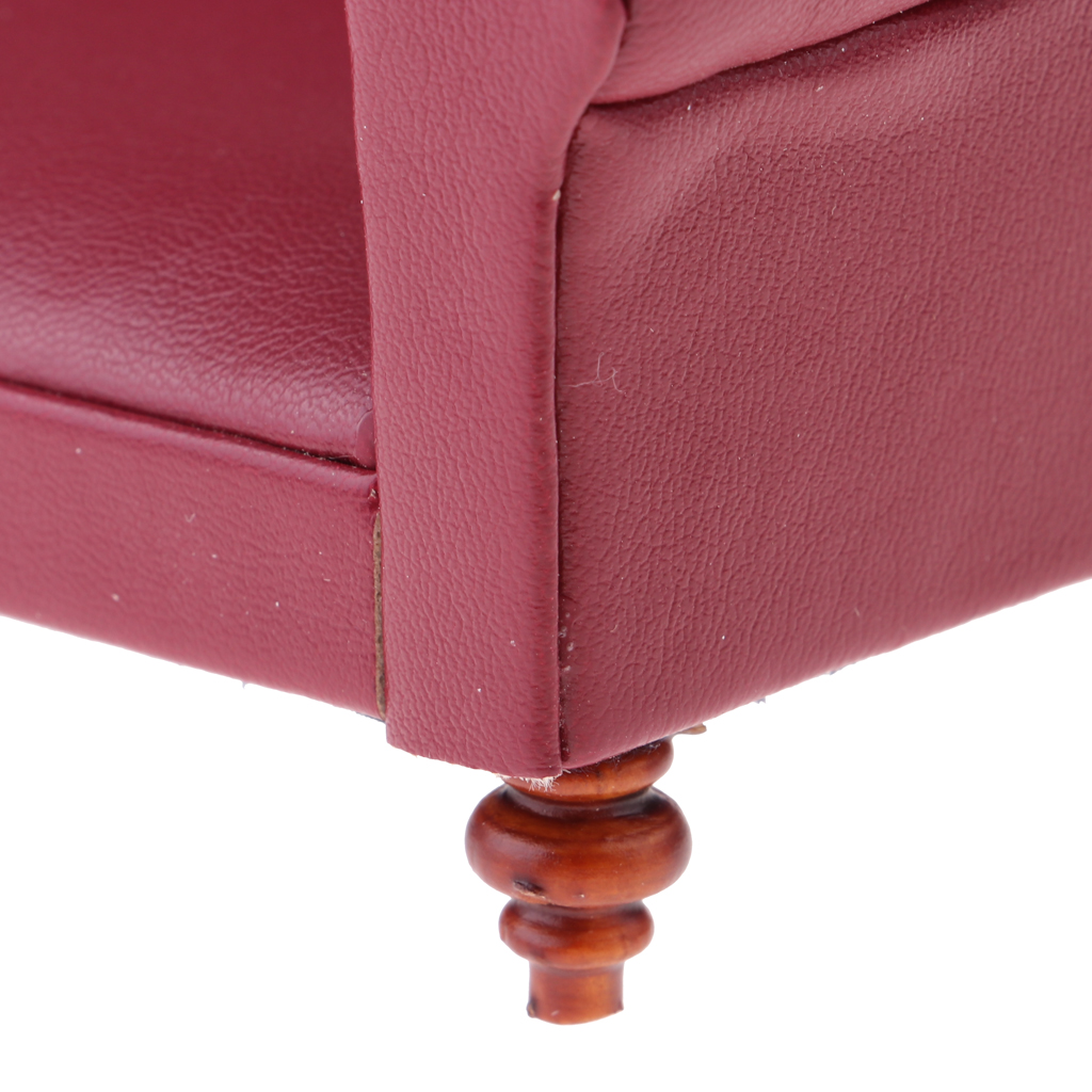 Vintage 12th Leather Long Sofa Couch Dollhouse Living Room Bedroom Furniture Accessories Decoration Red