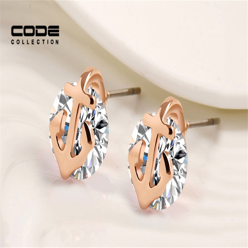 Girls Gold Alloy Anchor Design Stud Earrings Jewelry Wholesale Fashion Korean Crystal Cubic Zirconia Earrings ER107(China (Mainland))
