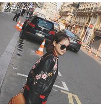 Leather jacket women 2016 new fashion Heavy bee flower embroiderysheep skin leather coat women short motorcycle leather(China (Mainland))