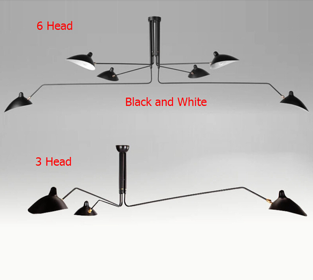 Nordic 3 Arm 6 Replica Rotating Retro Ceiling Lights Duckbill Adjustable Dining Room Lighting