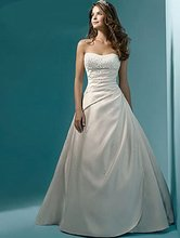 White/Ivory Beading Sequined Strapless Satin A-Line Wedding Dress