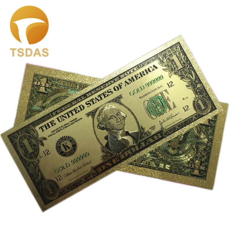 Покрытые настоящим золотом Банкноты набор USD 100/50/20/10/5 коллекции. 999 чистый Билл 24 1-1