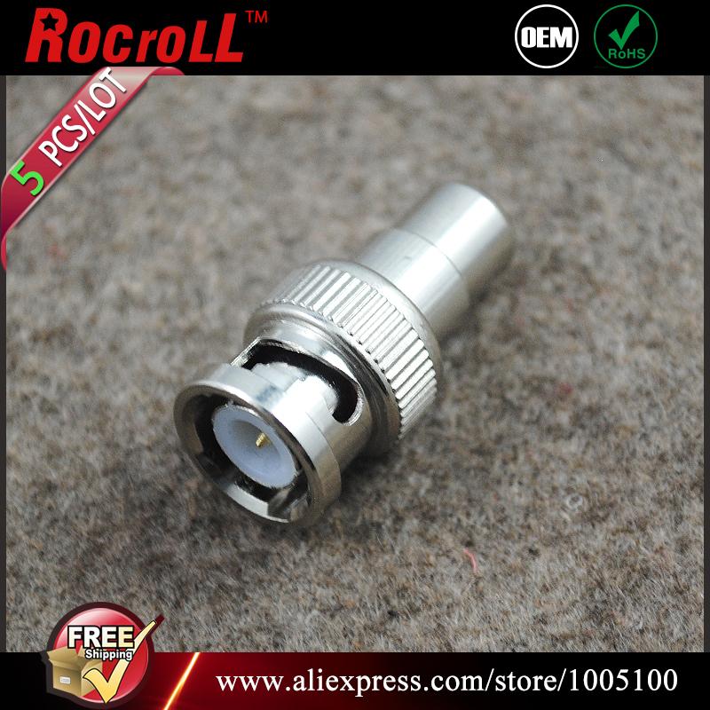 5 pcs Free shipping BNC Male to RCA Female Adapter(China (Mainland))