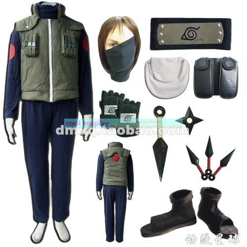Amime Naruto Costume- Naruto Hatake Kakashi Deluxe Mens Cosplay Costume Set &amp; Accessories, Halloween /Party CosplayОдежда и ак�е��уары<br><br><br>Aliexpress