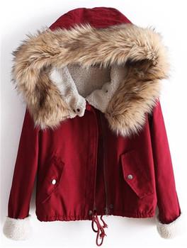 Зима куртка короткая, hotwomen зима большой мех воротник куртка женщины тёплый пальто пуховик флис с подкладкой парка HW99JB9A