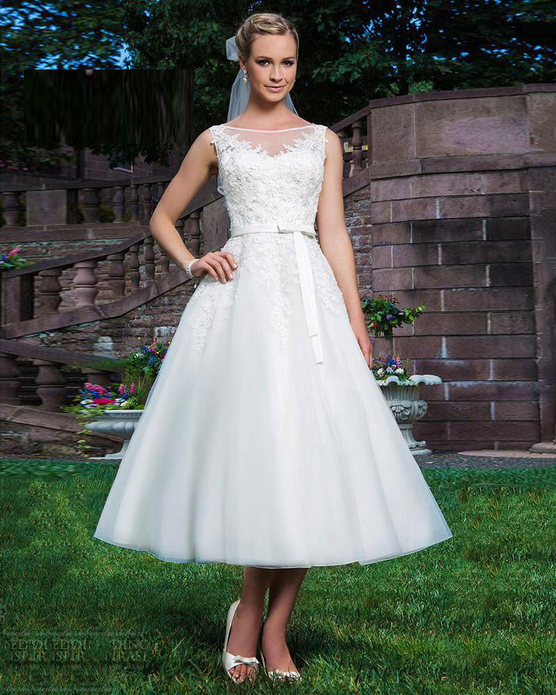 Aliexpress Buy Ball Gown Boat Neckline Sleeveless Mid Calf Length Lace Appliques Bow