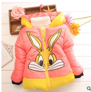 Retail Baby girls cotton jacket rabbit outwear kids winter clothing cotton-padded clothes jacket outwear with cap(China (Mainland))