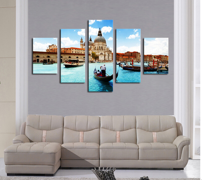 (No Frame)5 Piece Water City Modern Home Wall Decor Canvas picture Art HD Print Painting Canvas art Unframed(China (Mainland))