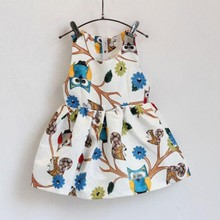 Chic Kids Dress Sleeveless Owl Print Tutu Dresses One Piece Party Baby Girl Clothes