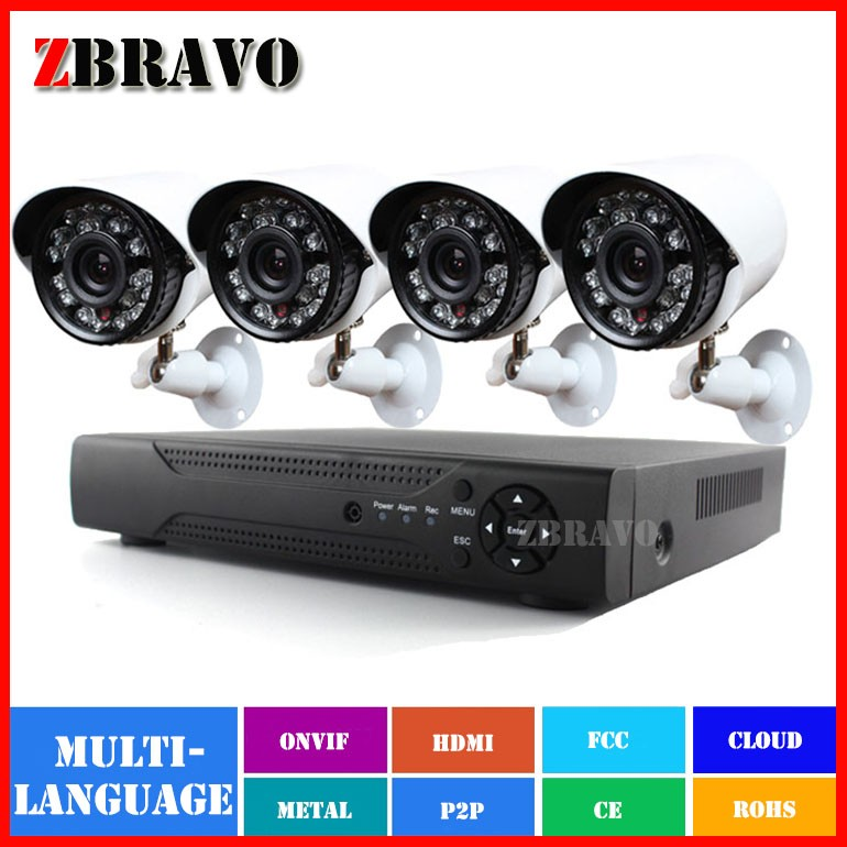New HD 4CH 960P AHD DVR Kit 1.3MP 1500TVL Indoor Outdoor Waterproof 24 LEDs Night Vision Home Video Security Camera CCTV System(China (Mainland))