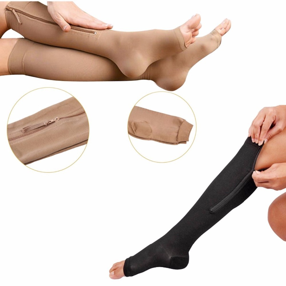 Fashion Women Socks Zip-up Compression Socks Zip Sox Slimming Stocking Zipper Leg Support Knee Socks Breathable Open Toe Sleeve(China (Mainland))