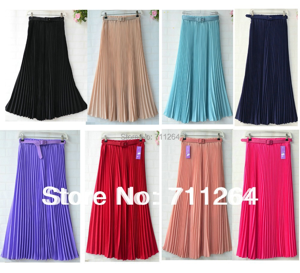 Women Pleated Retro Maxi Long Skirt Elastic WaistBand Belt Chiffon Dance women long evening skirt - Amayar Good clothes store