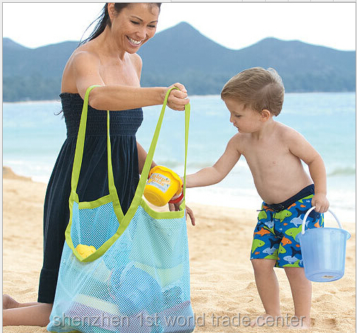 Free shipping 200 pcs/lot large sand away beach mesh bag Children Beach Toys Clothes Towel Bags baby toy collection bag(China (Mainland))