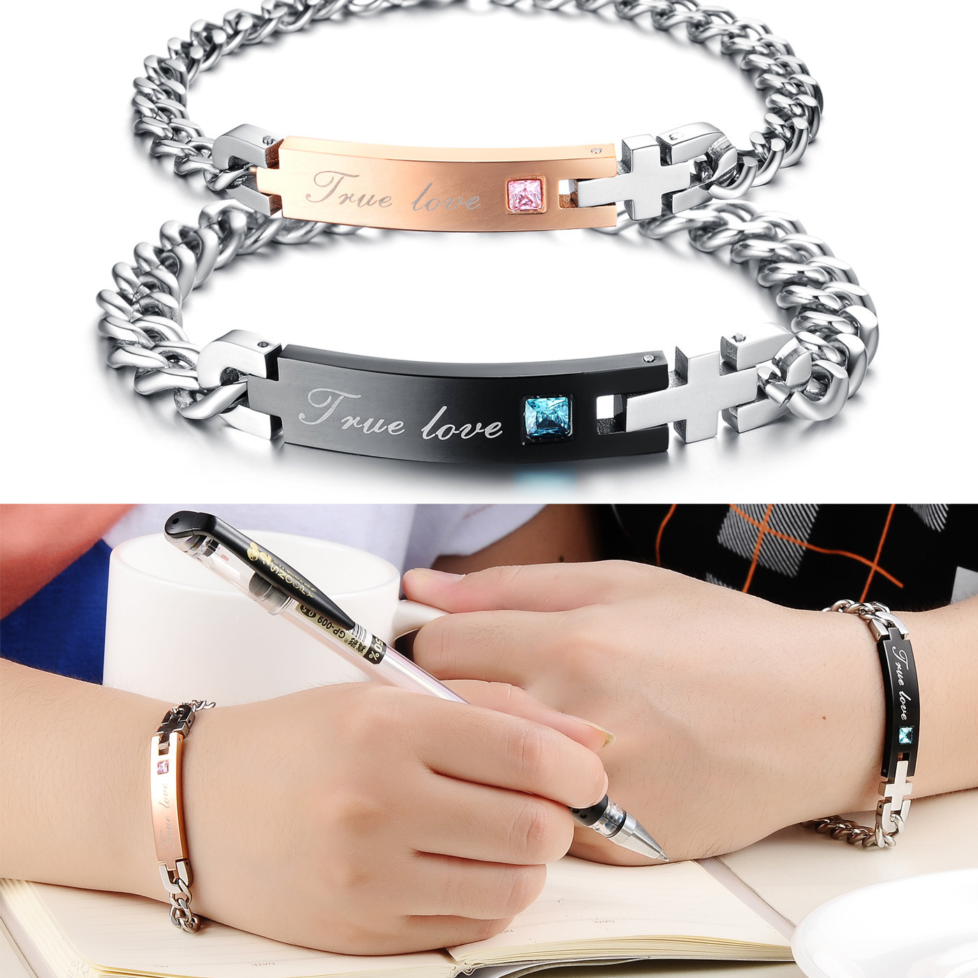 Valentine's Day gift jewelry lovers Bracelet a Korean girlfriend of men and women can be lettering titanium bracelet