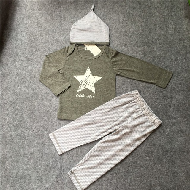 Spring and Autumn Baby Clothing sets baby boys clothes casual 3pcs (Hat + T-shirt+ pants)