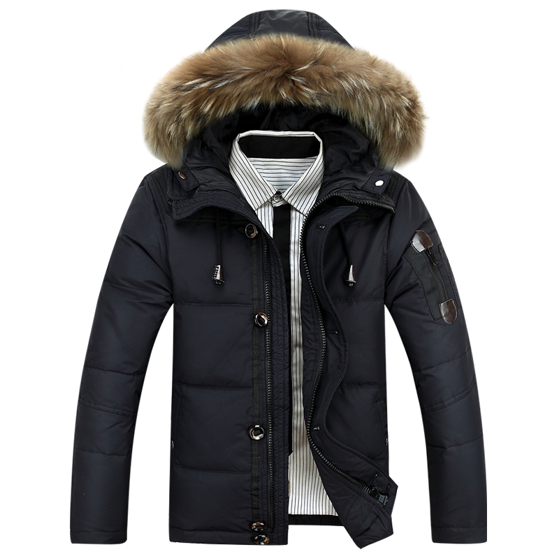 2015 New Winter Men s down jacket fur collar casual winter proof wool down jacket men