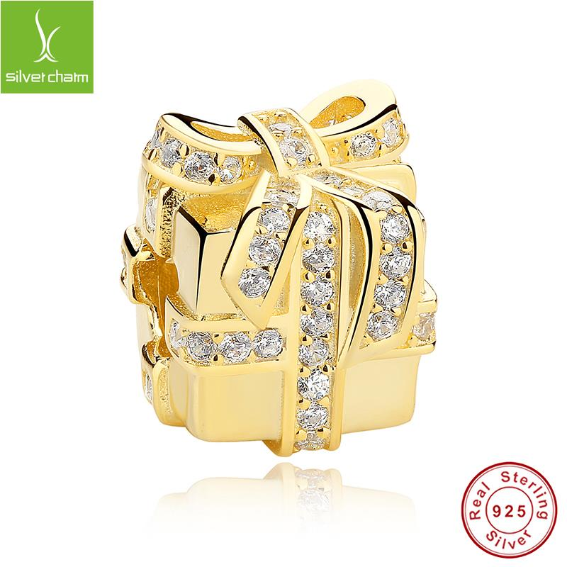 Luxury 925 Sterling Silver 14K Gold Plated All Wrapped Up Charm Fit Original Pandora Bracelet Necklace Authentic Jewelry Gift<br><br>Aliexpress