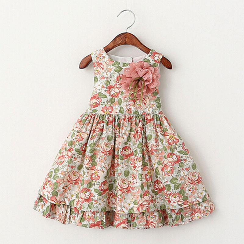 Girls Dress Summer 2016 Girl Flower Dress Baby Sleeveless Dresses Children Fashion Dresses Kids Party Princess Clothes(China (Mainland))
