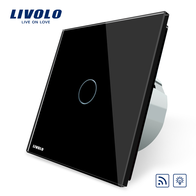 Livolo EU Standard Remote&Dimmer Switch VL-C701DR-12, Black Crystal Glass Panel, 220~250V Wall Light Remote Touch Dimmer Switch