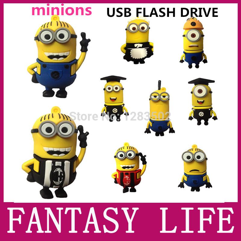 New fashion hot minions usb flash drive 64gb pen drive 32gb Despicable Me pendrive 2GB 4GB 8GB 16GB 32GB flash card memory stick(China (Mainland))