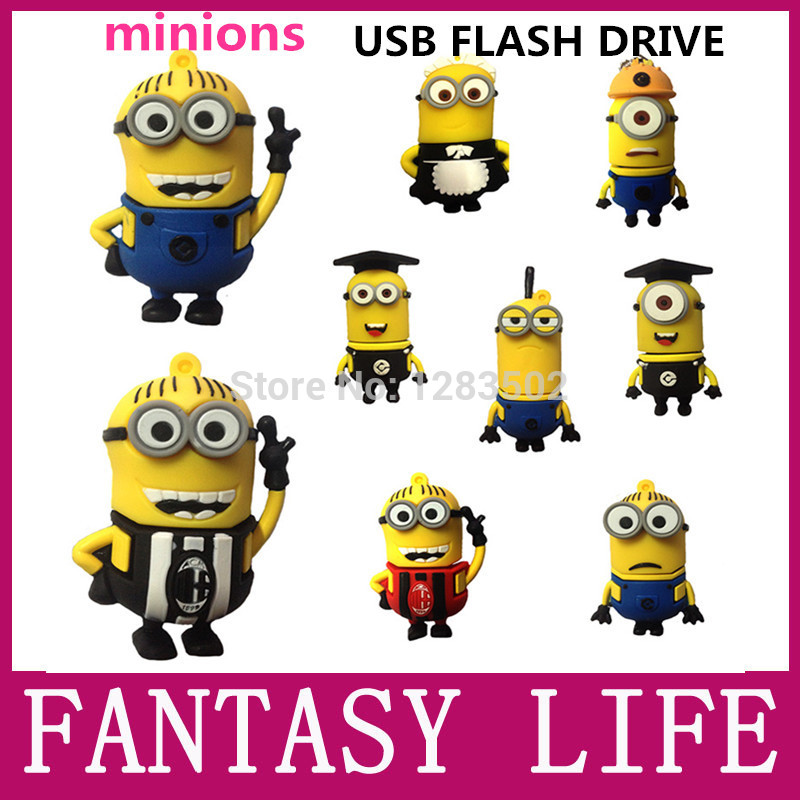 New fashion hot minions usb flash drive 64gb pen drive 32gb Despicable Me pendrive 2GB 4GB 8GB 16GB 32GB flash card memory stick(China (Mainland))