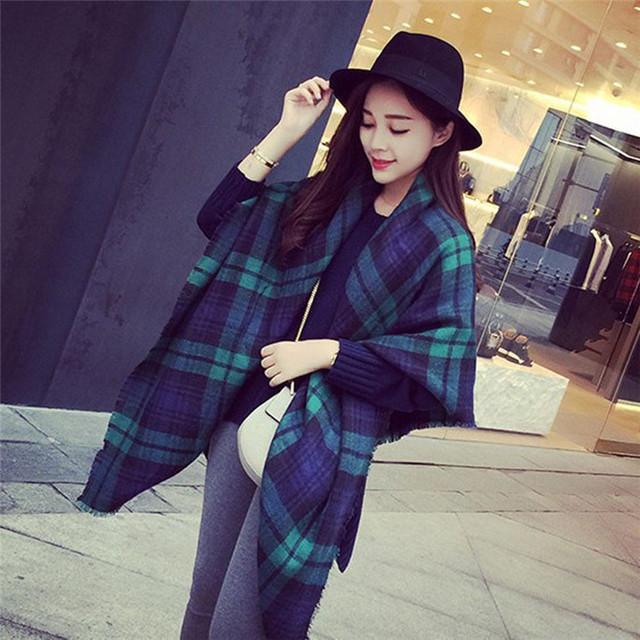 Популярны леди женщин одеяло негабаритных шотландка шарфа платок плед шарф