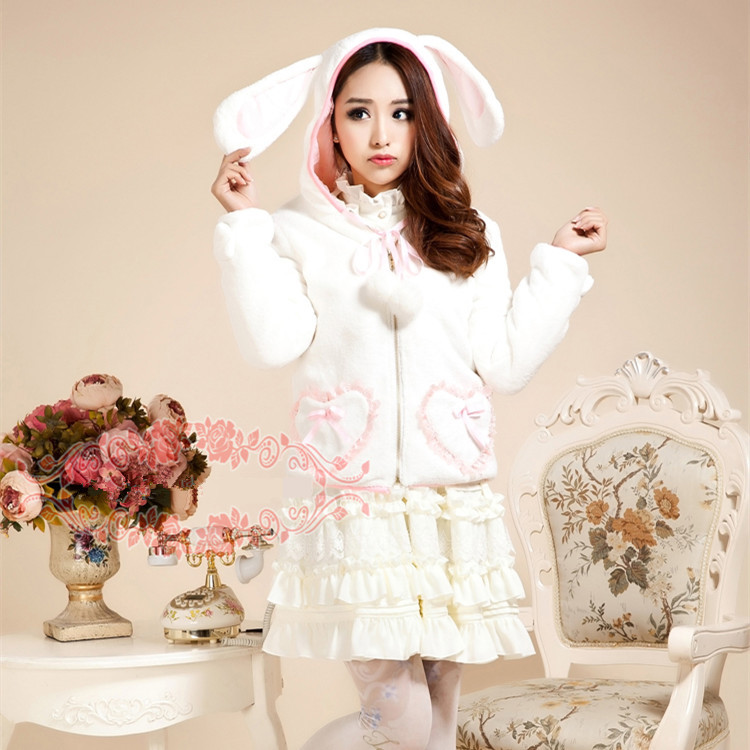 Bunny Ear Hoodie Fleece Warm Lolita Jacket Kawaii Rabbit ...