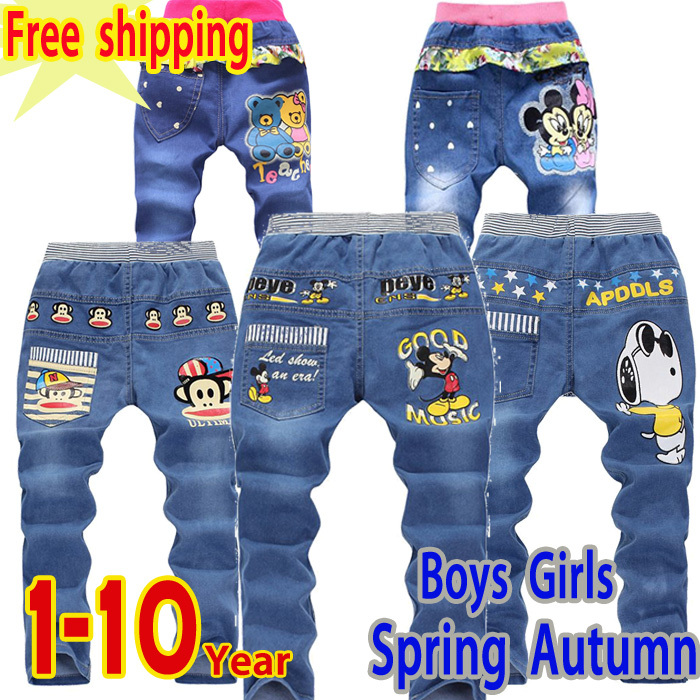 Free shipping 2015new fashion boys girls clothes 2 - 10 winter jeans child smiley cartoon plus velvet casual pants warm Trousers(China (Mainland))