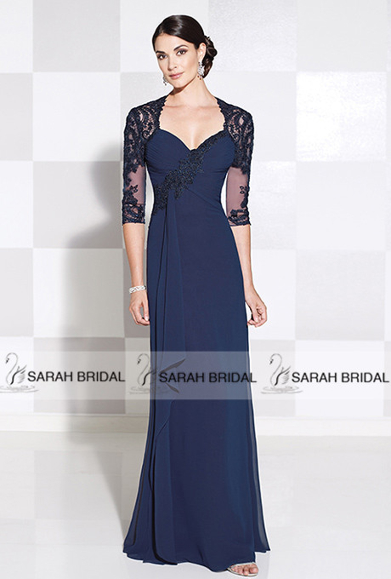 Navy Blue Mother Of The Bride Dress With Jacket - Overlay Wedding ...