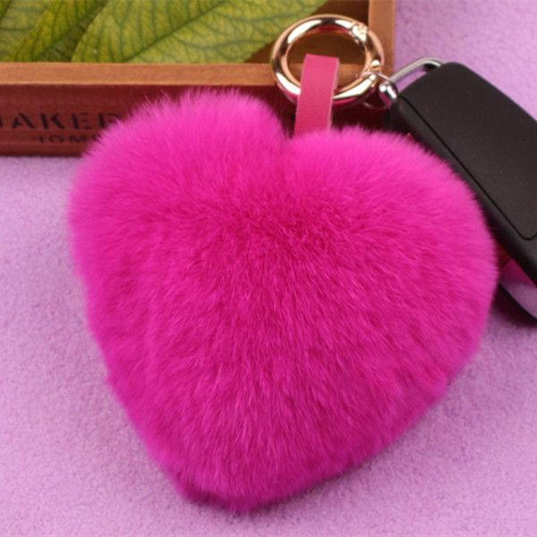 Natural Fur Keyring Key Chain Genuine Rabbit Fur heart shape keychain women fur pom pom Keychain Bag Charm Key-1236(China (Mainland))