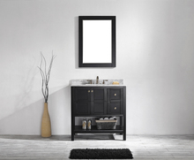 35Inch Espresso American Style Thailand Oak Solid Wood Bathroom Vanity 3 Doors with Soft Close(China (Mainland))